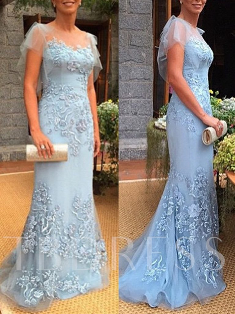 Cap Sleeves Appliques Sheath Mother of the Bride Dress