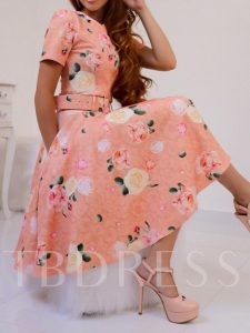 Floral Print Short Sleeve A-Line Women's Day Dress