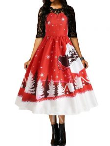 Christmas Pattern Patchwork Half Sleeve Mid-Calf Women's Day Dress