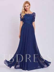 Short Sleeves Beaded Appliques A-Line Evening Dress