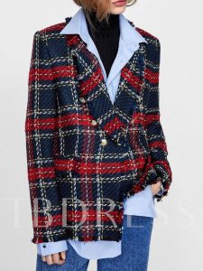 Tweed Double-Breasted Plaid Notched Lapel Women's Blazer