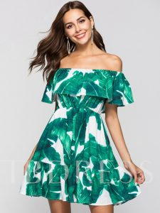 Green Off Shoulder Printing Women's Day Dress