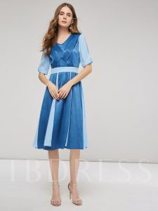 Half Sleeves Women's Day Dress
