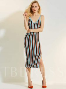 Deep V-Neck Color Block Stripe Women's Day Dress