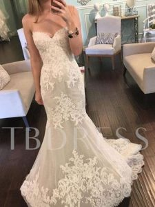 Lace Appliques Mermaid Wedding Dress