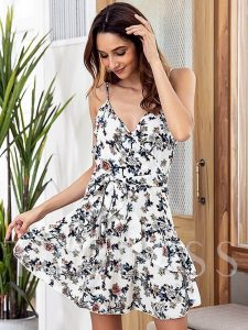 Floral White Backless Women's Sexy Dress