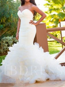 Mermaid Backless Tiered Sweetheart Bridal Gowns