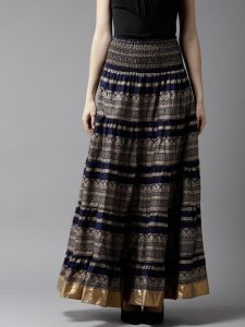 HERE&NOW Women Navy Blue & Golden Printed Maxi Tiered Skirt
