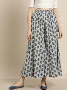 Sangria Women Grey & Navy Blue Printed Wide Leg Palazzos