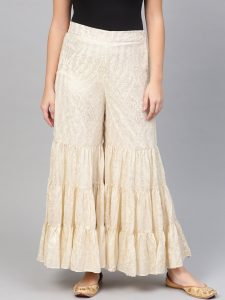 W Women Off-White & Golden Printed Flared Palazzos