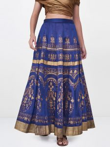 Global Desi Women Blue & Gold-Toned Printed Flared Maxi Skirt