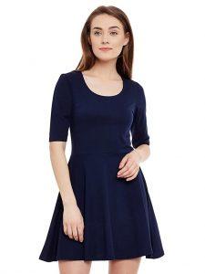 Miss Chase Womens Navy Blue Skater Dress