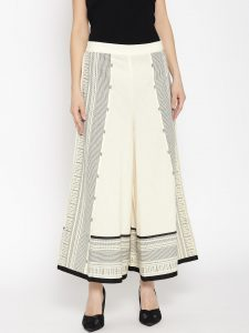 Women Cream-Coloured & Black Printed Flared