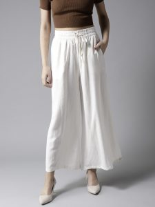 HERE&NOW Women Off-White Solid Wide Leg