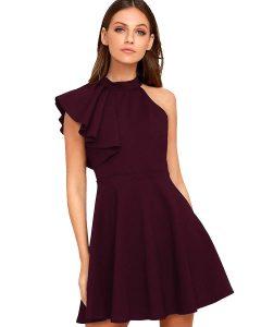 Women's Ruffle Shoulder Dress