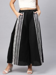 W Women Black & White Striped Wide Leg
