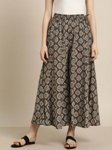 Sangria Women Charcoal Grey & Grey Printed Wide Leg Palazzos
