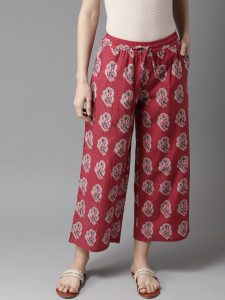 Moda Rapido Women Maroon & Off-White Printed Straight Cropped Palazzos