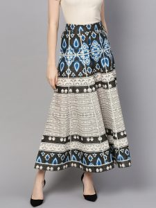 Women Off-White & Charcoal Grey Printed Flared Palazzos