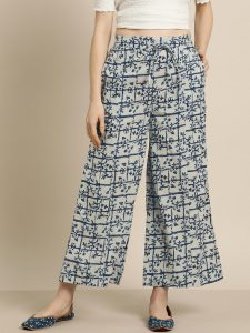 Sangria Women Grey & Navy Blue Printed Straight Palazzos