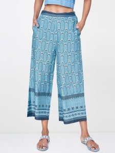 Global Desi Women Blue & White Printed