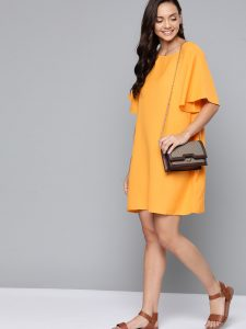 Mast & Harbour Women Yellow Solid Shift Dress