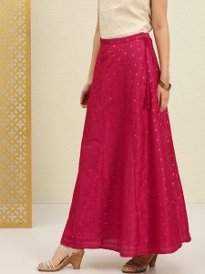 House of PataudiWomen Pink Embroidered Flared Skirt