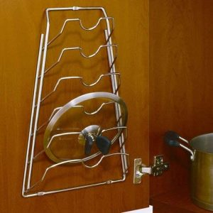 Organize It All Wall Cabinet Door Mounted Pot Lid Rack