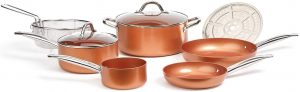 Copper Chef Cookware Aluminum and Steel with Ceramic Non-Stick Coating Cookware Set