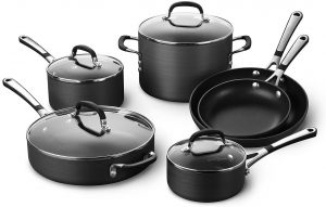 Calphalon Simply Pots and Pans Set, 10 piece Cookware Set, Nonstick
