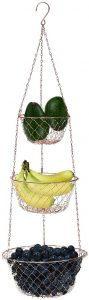 MALMO 3-Tier Wire Fruit Hanging Basket, Vegetable Kitchen Storage Basket