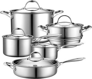 Cooks Standard 10 Piece Multi-Ply Clad Set, Stainless Steel