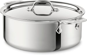 All-Clad Stainless Steel Tri-Ply Bonded Dishwasher Safe Stockpot with Lid