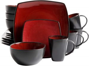 Gibson Elite Soho Lounge 16-Piece Square Reactive Glaze Dinnerware Set