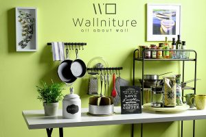 Wallniture Wall Mounted Wrought Iron Hanging Utensil Holder Rack