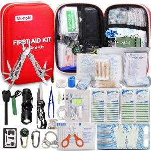 Monoki First Aid Kit, 241Pcs Outdoor Emergency Survival Kit Gear