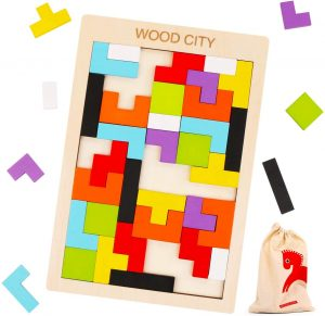 Best Boys Gifts - Wooden Tetris Puzzle with a Storage Bag