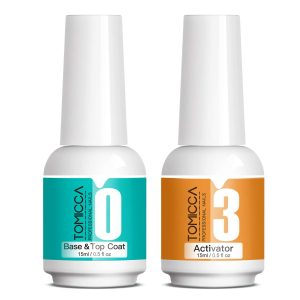 TOMICCA 2x15ml Dip Powder Top Base Coat with Activator