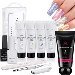Makartt Glitter Poly Nail Extension Kit Bundle With Clear Poly Nail Gel