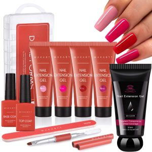 Best Nail Thickening Solution - Makartt Red Poly Nail Extension Kit Bundle With Clear Pink Poly Nail Gel