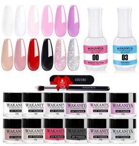 Best Nail Top & Base Coats - Wakaniya 12 Colors Dip Powder Nail Kit Starter Set