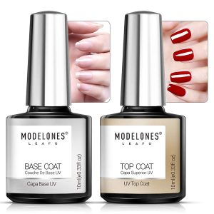 Modelones Gel Top and Base Coat, Gel Nail Polish No Wipe Top Coat Base Coat Set