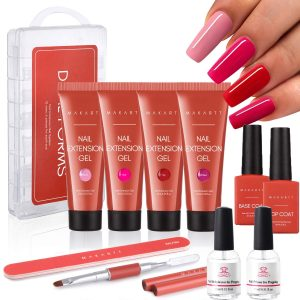 Makartt Red Poly Nail Extension Kit Bundle With Nail Primer and Nail Dehydrator kit