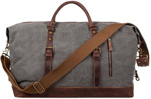 S-ZONE Oversized Canvas Genuine Leather Trim Travel Tote Duffel Shoulder Weekend Bag