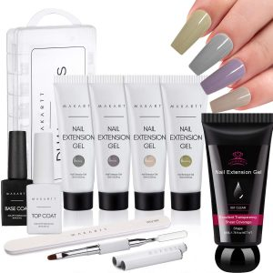 Makartt Poly Nail Extension Kit Bundle with Natural Clear Poly Nail Gel