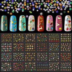 Best Nail Art - 3000 Pieces Christmas Nail Art Stickers Snowflake Sequins