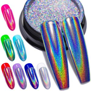 Holographic Nail Powder Fine Rainbow Holo Unicorn Mirror Laser Effect
