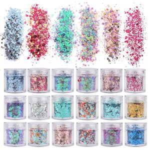 18 Colors/Boxes Holographic Cosmetic Festival Chunky Glitters Sequins
