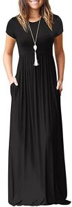 VIISHOW Women's Short Sleeve Loose Plain Maxi Dresses Casual Long Dresses with Pockets(Black, Large)