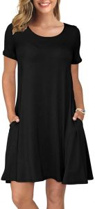 KORSIS Women's Summer Casual T Shirt Dresses Swing Dress Black XL